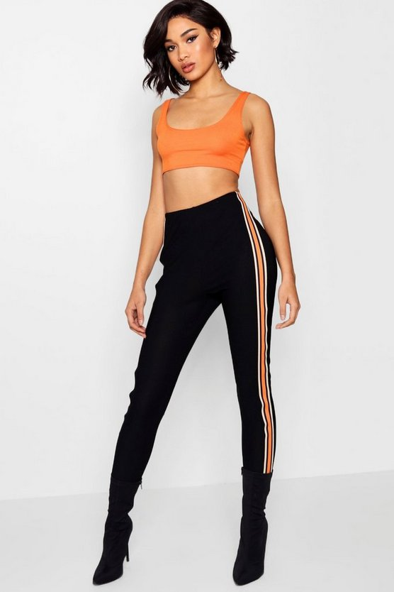 Womens Black Stripe Crepe High Waist Legging