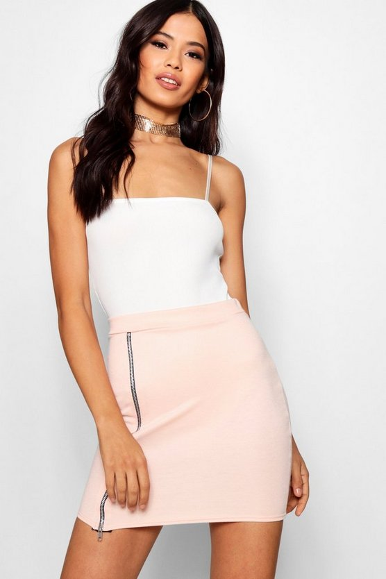 Zip Front Micro Mini Skirt