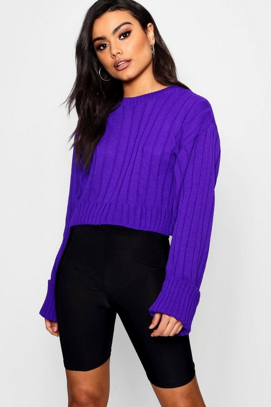 Wide Sleeve Cropped Jumper