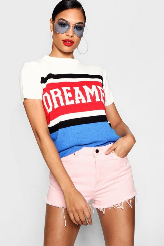 Womens Red Dreamer Slogan Jumper