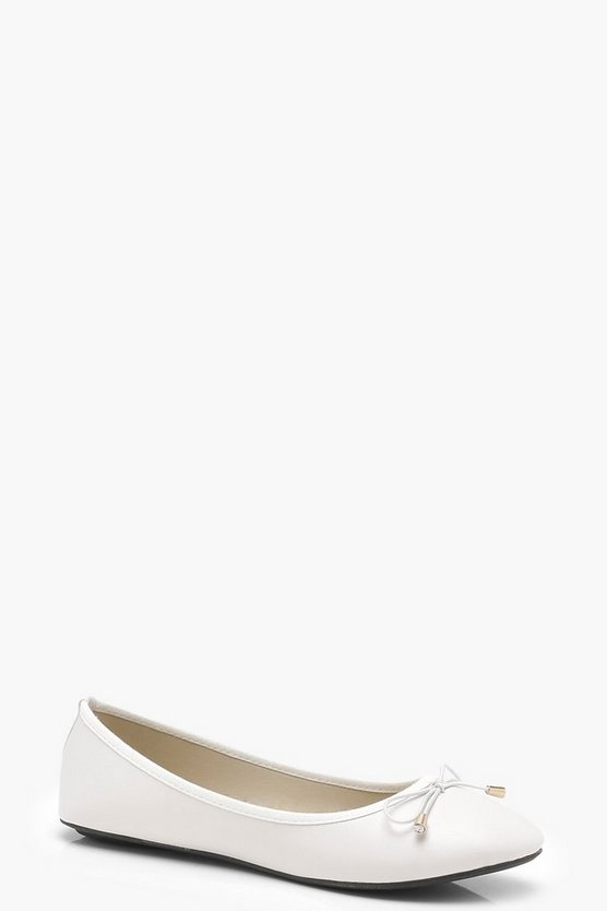 Womens White Bow Trim Ballerinas