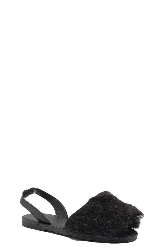 Faux Fur Peeptoe Sling Back Sandals