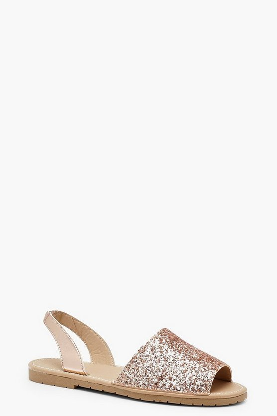 Glitter Sling Back Sandals by Boohoo