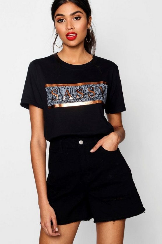 Sassy Print And Foil Tee