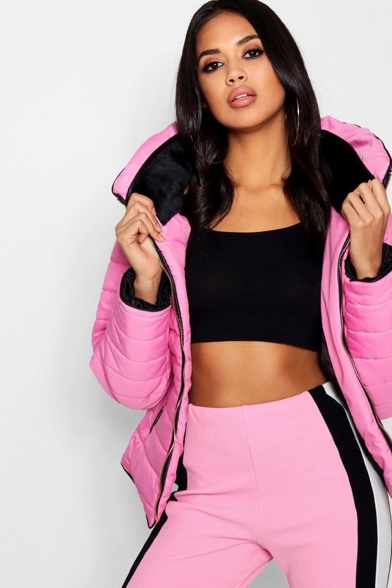 Womens Pink Quilted Jacket