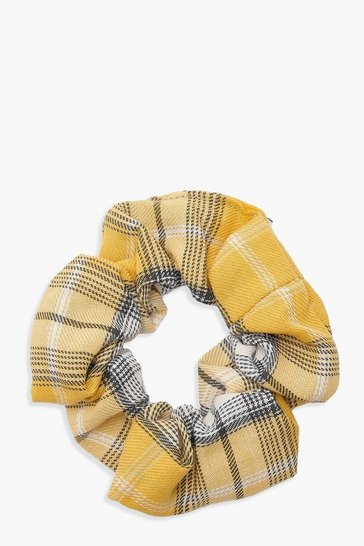 Womens Yellow Check Scrunchie