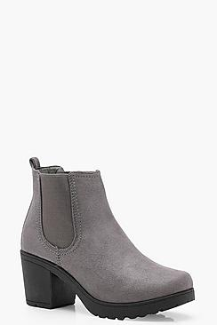 Olivia Chunky Cleated Heel Chelsea Boots