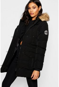 Womens Black Luxe Mountaineering Parka