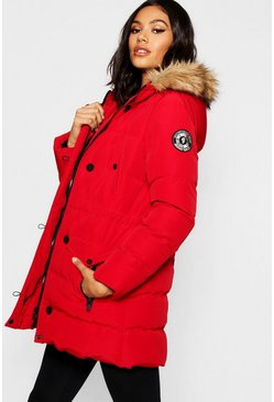 Womens Red Luxe Mountaineering Parka