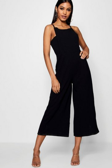 Womens Black Square Neck Culotte Jumpsuit