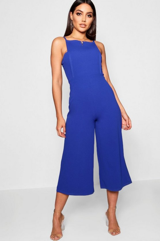 Womens Cobalt Square Neck Culotte Jumpsuit