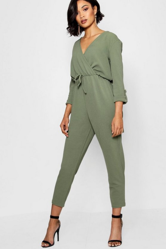 Military Wrap Front Cargo Style Jumpsuit