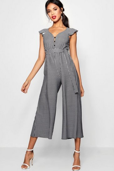 Womens Black Gingham Frill Sleeve Culotte Jumpsuit