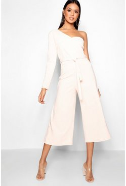 Womens Blush One Sleeve Bustier Style Jumpsuit