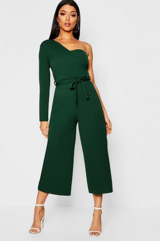 Green One Sleeve Bustier Style Jumpsuit