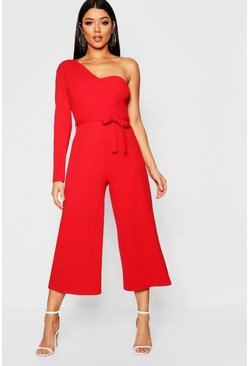 Womens Red One Sleeve Bustier Style Jumpsuit