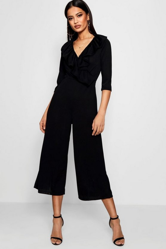 Womens Ruffle Wrap Over Culotte Jumpsuit
