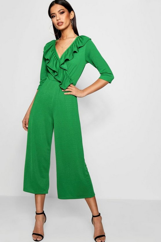 Ruffle Wrap Over Culotte Jumpsuit