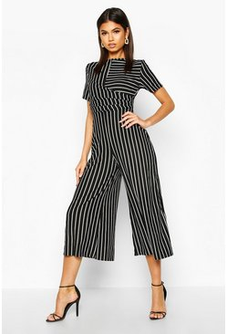 Womens Black Striped Wrap Culotte Jumpsuit