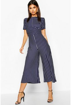 Womens Navy Striped Wrap Culotte Jumpsuit