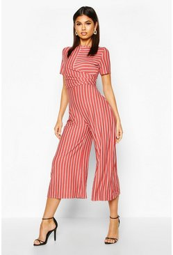 Rust Striped Wrap Culotte Jumpsuit