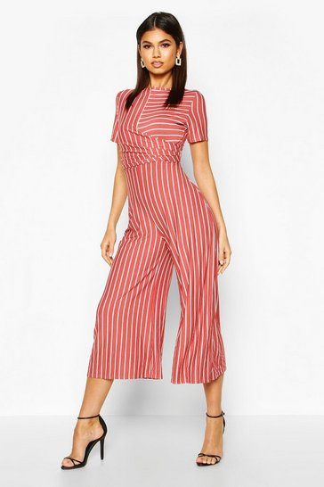 Womens Rust Striped Wrap Culotte Jumpsuit
