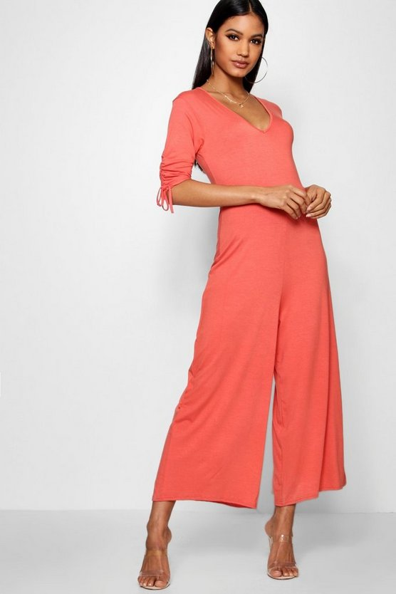 Ruched Sleeve Tea Style Culotte Jumpsuit