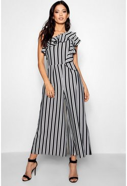 Womens Black Stripe One Shoulder Culotte Jumpsuit
