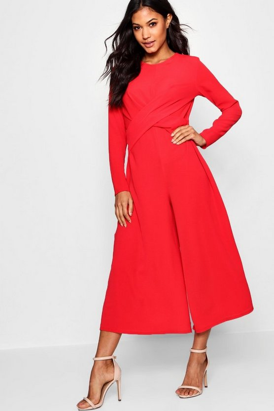 Womens Red Knot Front Culotte Jumpsuit
