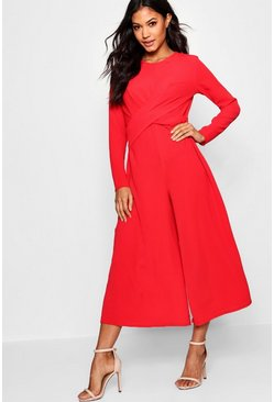 Red Knot Front Culotte Jumpsuit