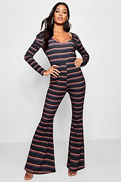 Vintage High Waisted Trousers, Sailor Pants, Jeans Niamh Stripe Flared Leg Jumpsuit $42.00 AT vintagedancer.com