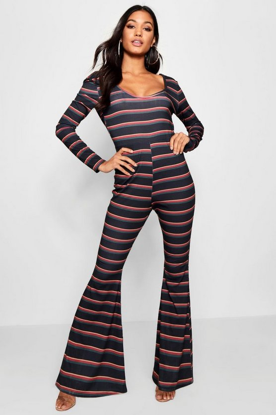 Stripe Flared Leg Jumpsuit