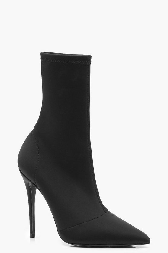 Womens Black Stretch Pointed Toe Sock Boots