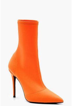 Womens Orange Stretch Pointed Toe Sock Boots