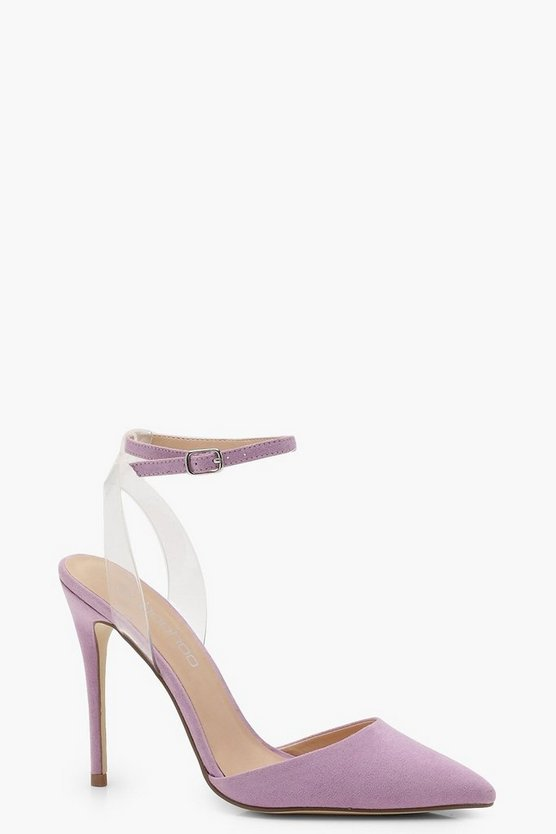 Pointed Toe Clear Strap Heels