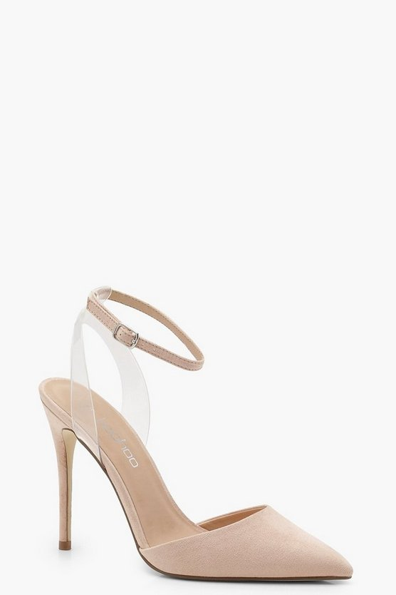 Womens Nude Pointed Toe Clear Strap Heels