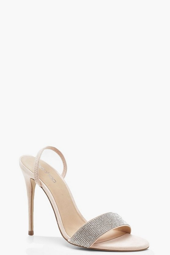 Diamante Strap Sling Back Heel Sandals