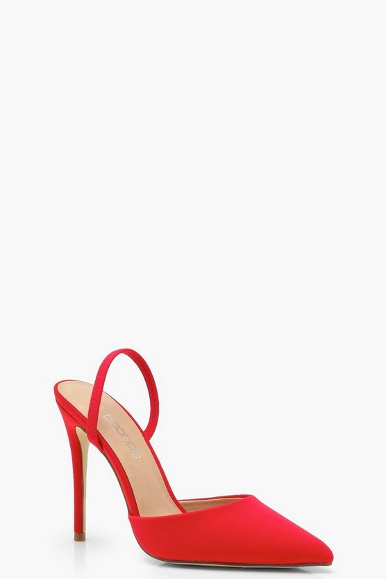 Elastic Sling Back Pointed Court Shoes