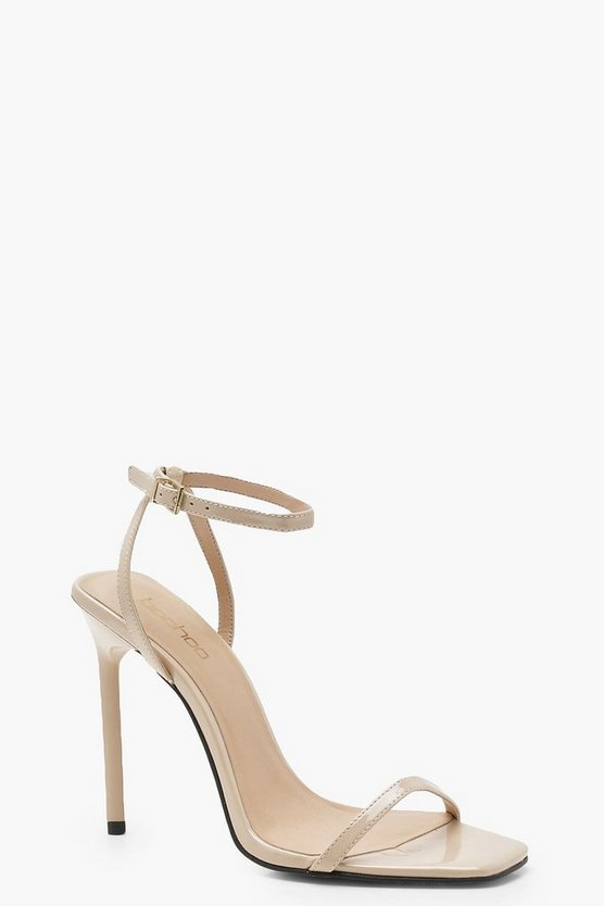 Nude Square Toe Two Part Heels