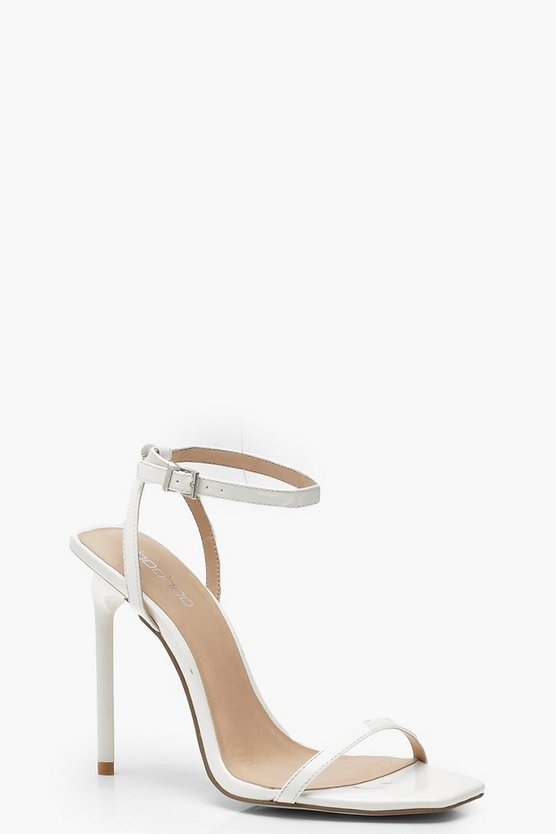 Womens White Square Toe Two Part Heels