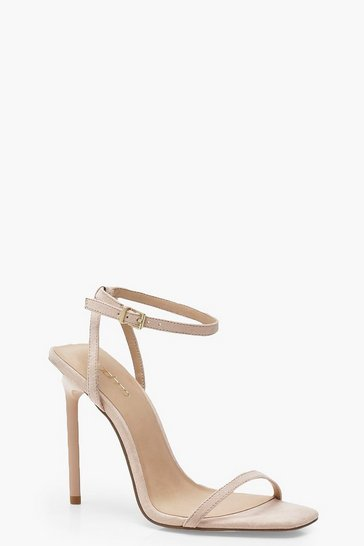 Womens Nude Square Toe Two Part Heels