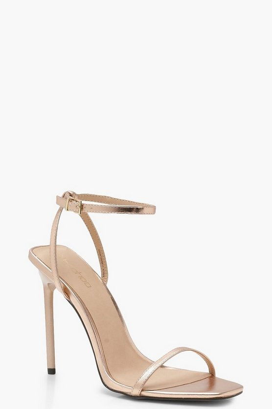 Womens Rose gold Metallic Square Toe Heels