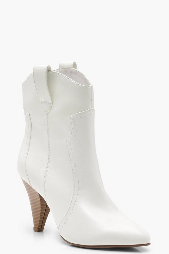 Womens White Pull On Western Boots
