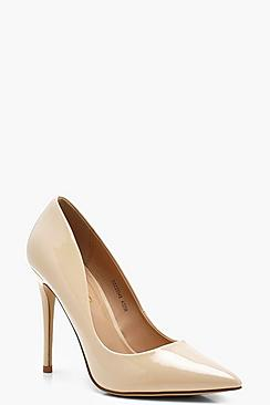 Patent Pointed Toe Court Shoes