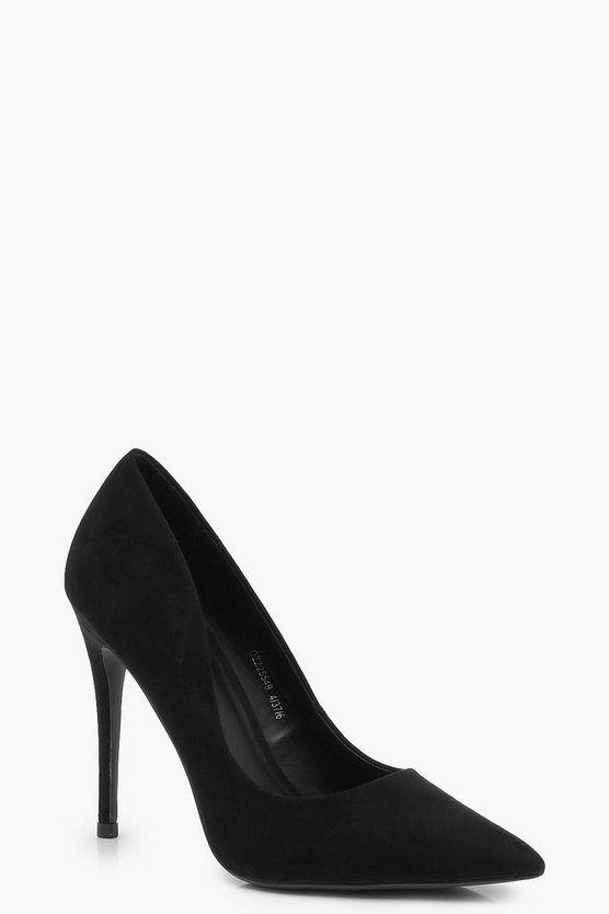 Womens Black Pointed Toe Court Shoes
