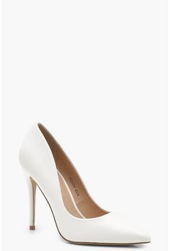 Womens White Pointed Toe Court Shoes