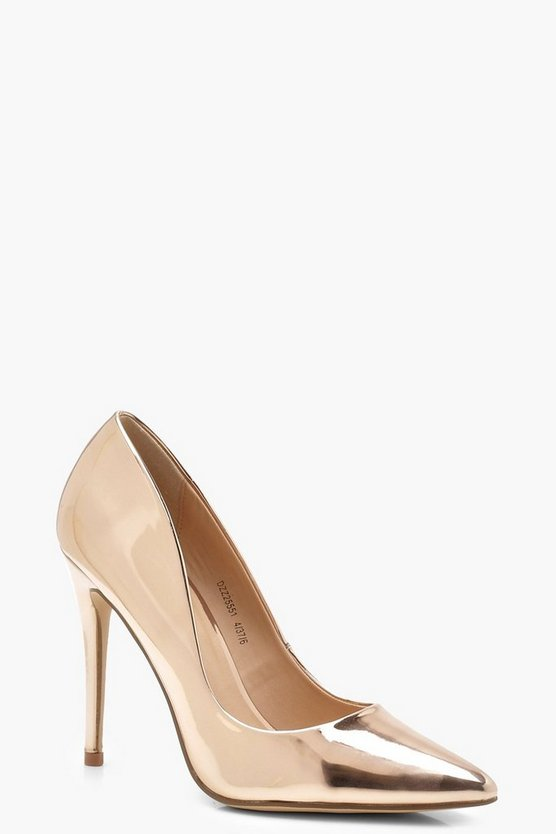 Womens Rose gold Mirror Metallic Pointed Toe Court Shoes