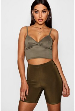 Womens Khaki Basic Slinky Cycling Shorts