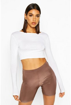 Womens Mocha Basic Slinky Cycling Short