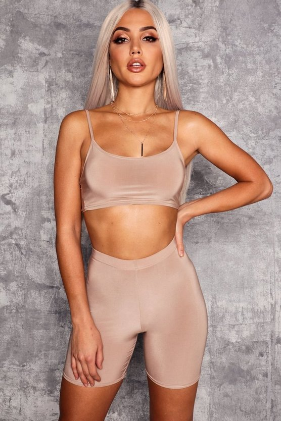 Womens Mocha Strappy Slinky Crop Top